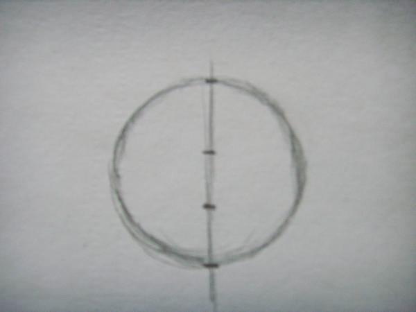 Линию, которая делит окружность на две равные части, разделите на три одинаковых отрезка, обозначив их точками