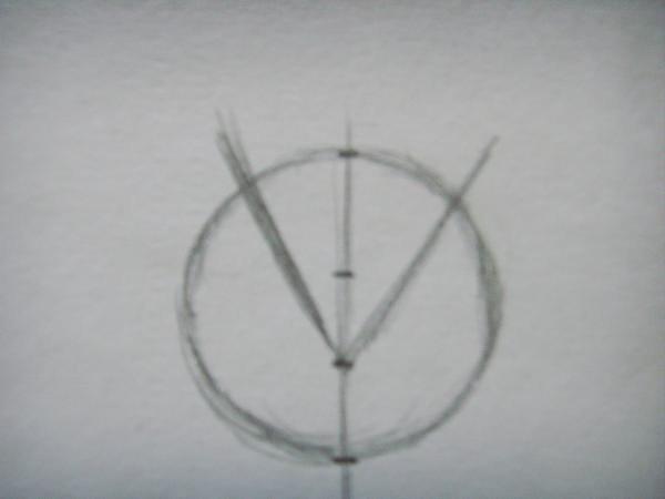 От нижней точки нарисуйте две линии, направленные вверх