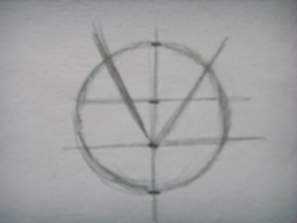 Изобразите две параллельные линии, идущие через две точки, расположенные в круге