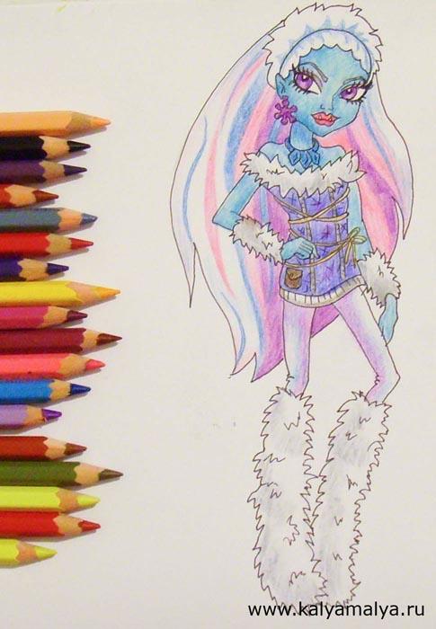 Раскрасьте персонажа карандашами, выбирая для этого неяркие и холодные оттенки