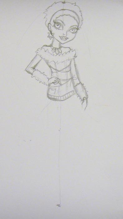Прорисуйте детально наряд Эбби, добавьте украшение на шее и изобразите пальцы