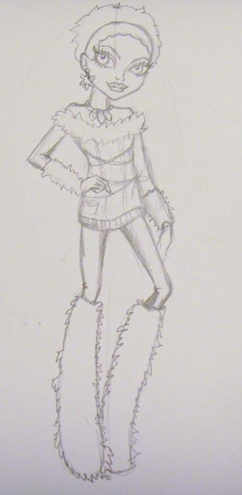 Прорисуйте ноги персонажа и меховые сапоги