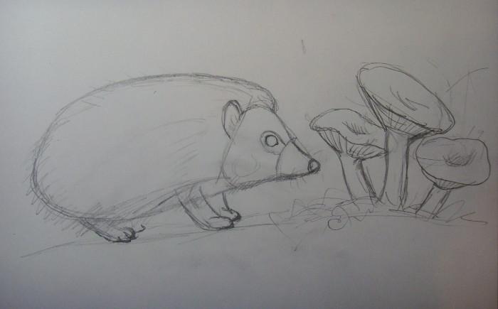 Нарисуйте грибы около мордочки зверька