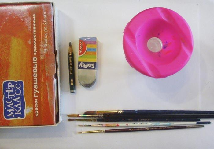 Для рисования осеннего пейзажа потребуются следующие предметы