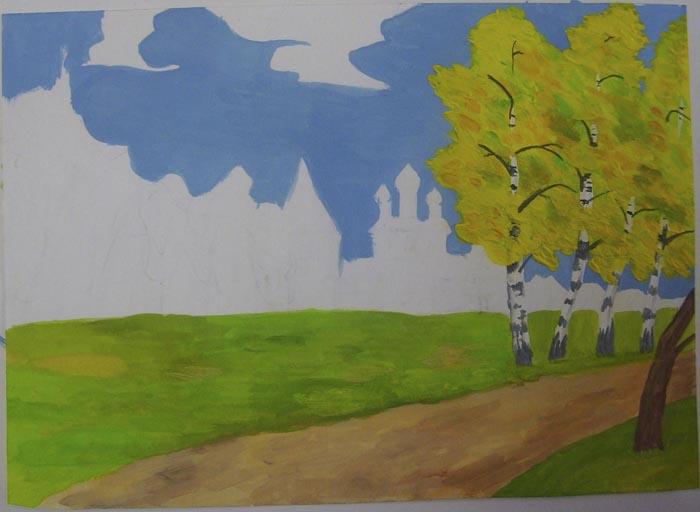 Раскрасьте стволы и листву деревьев