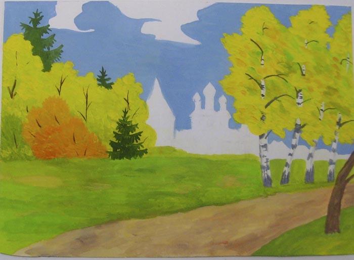 Закрасьте деревья на заднем плане, там же нарисуйте темно-зеленой гуашью ели