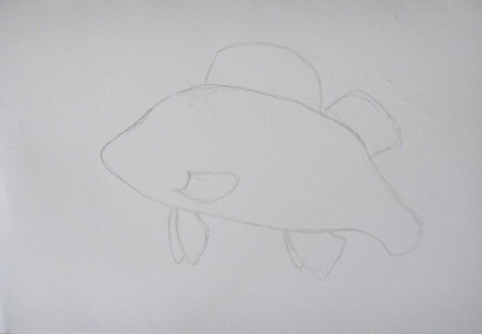 Пририсуйте рыбе плавники