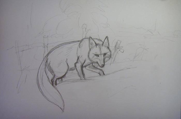 Прорисуйте хвост лисы и обозначьте пейзаж