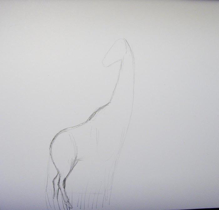 Изобразите задние ноги жирафа