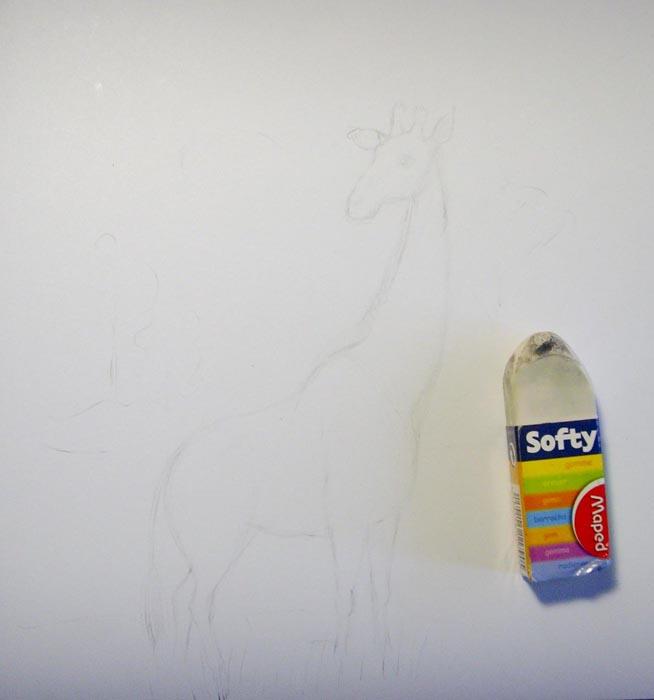 Ластиком удалите карандашный рисунок