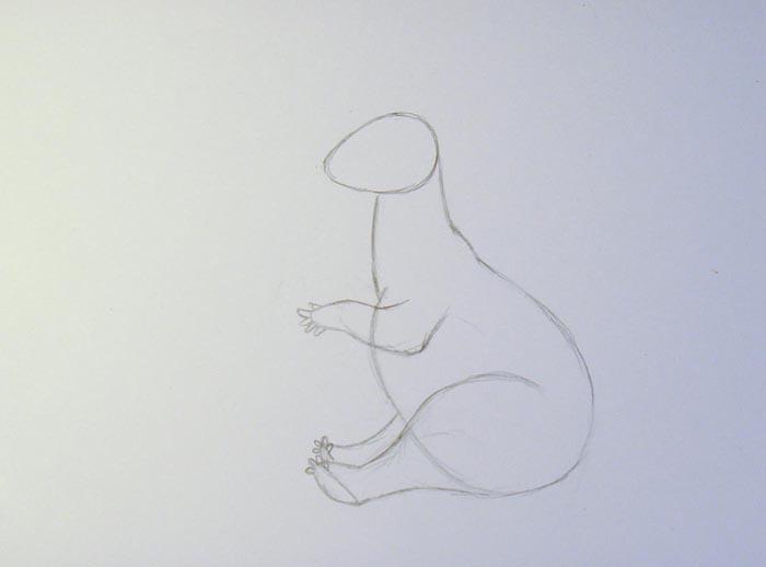 Нарисуйте переднюю лапу