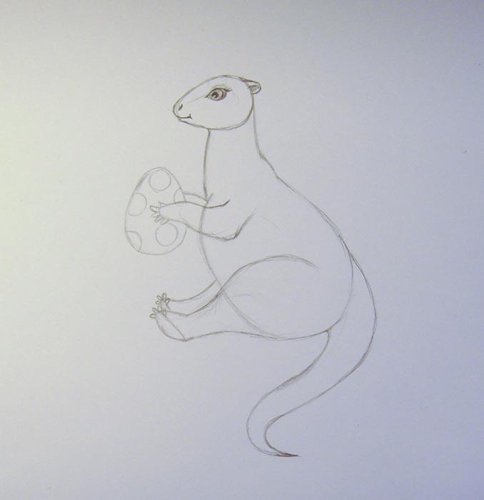 Нарисуйте яйцо и вторую лапу дракона