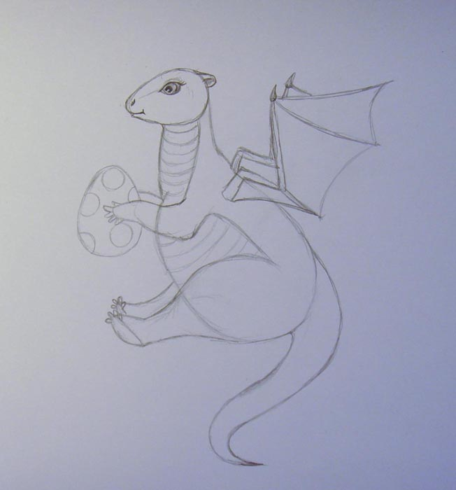 Изобразите полоски на шее и животе дракона