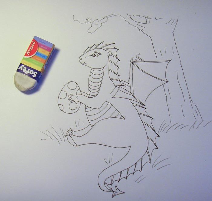 Ластиком удалите карандашный набросок