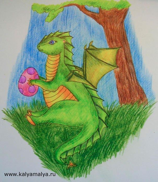 Как нарисовать зеленого дракона?