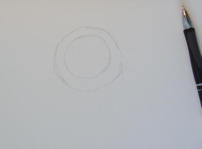 Нарисуйте два круга, поместив один в другой