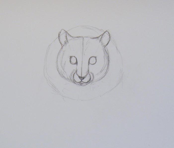 Прочертив вертикальную линию посередине меньшего круга, изобразите на равном расстоянии от него глаза животного. Потом нарисуйте нос и рот