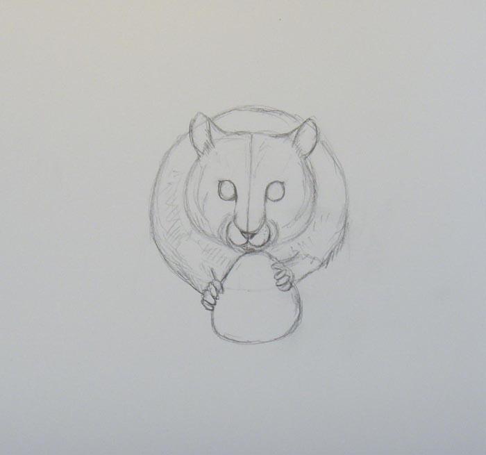 В нижней части большого круга нарисуйте лапки хомяка. Затем пририсуйте клубнику, которую он держит в лапках
