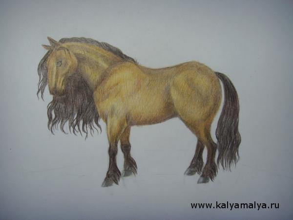 Копыта коня закрасьте серым карандашом