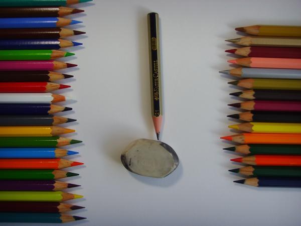 Приготовьте лист бумаги, карандаши и ластик