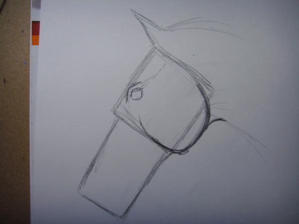 В верхней части квадрата изобразите глаз коня
