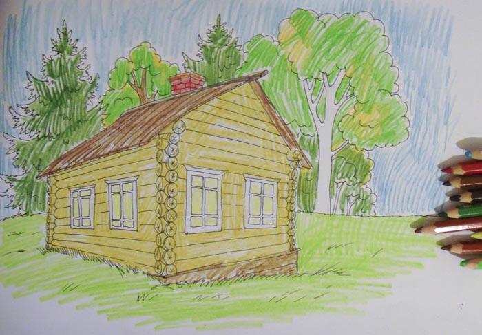 Акварельными карандашами немного заштрихуйте дом и пейзаж