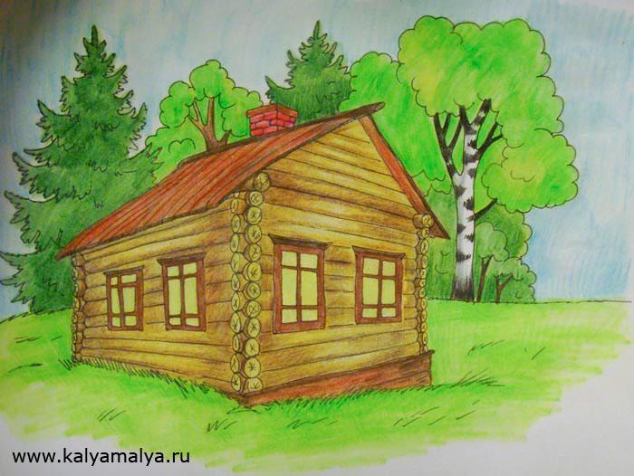 Как нарисовать дом из брёвен?