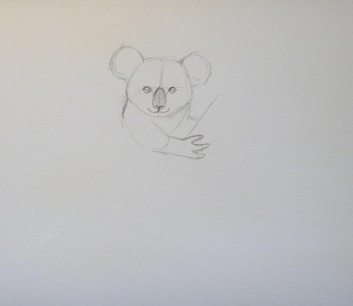 По обеим сторонам от черты изобразите маленькие глаза, затем нарисуйте крупный нос и рот. Изобразите переднюю лапу и шею животного