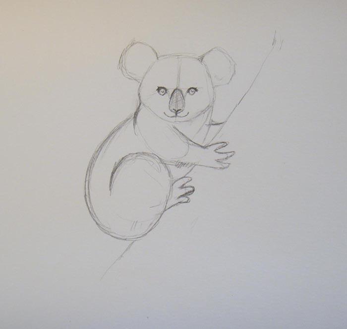 Пририсуйте туловище коалы и ее заднюю лапу. Затем наметьте очертания ствола дерева, на котором она сидит