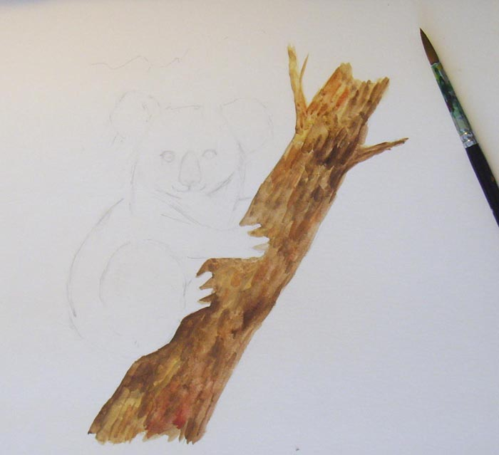 Раскрасьте ствол дерева разными оттенками коричневого