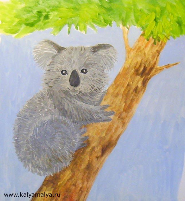 Используя самую маленькую кисточку, нарисуйте шерсть на теле и голове коалы
