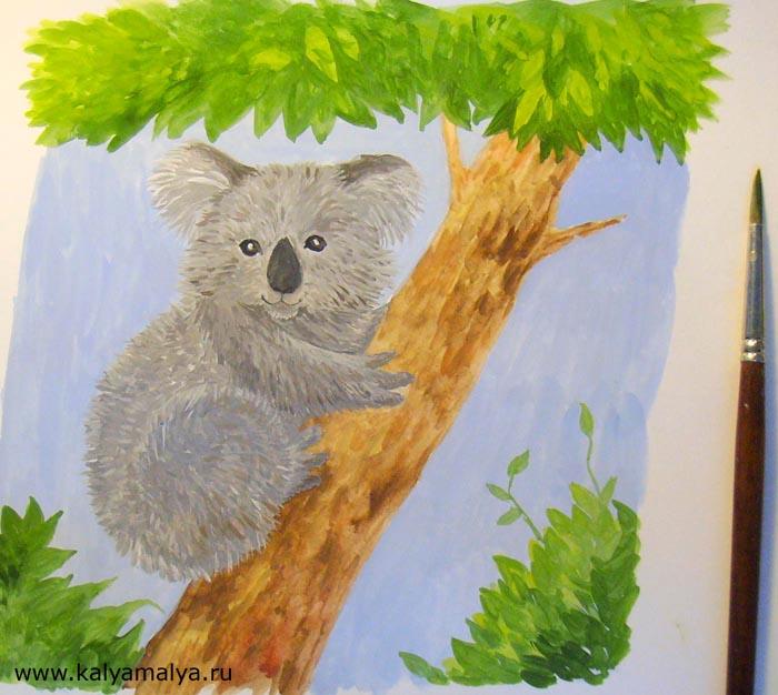 Крупной кистью нарисуйте листву внизу по бокам от дерева, а также сделайте крону более пышной