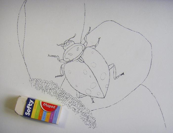 Сотрите ластиком карандашные линии
