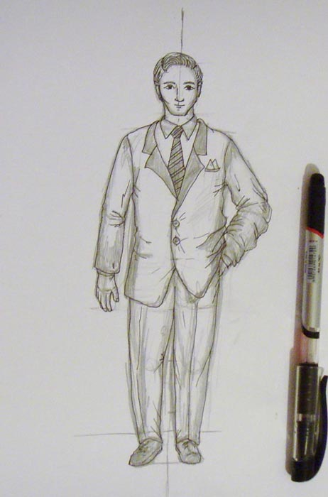 Ручкой обведите все контуры лица и одежды