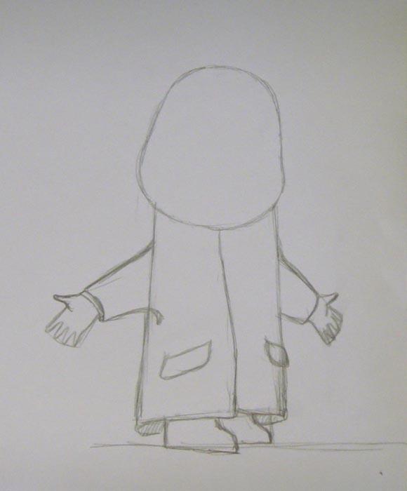 Изобразите пальто, а также прорисуйте обе руки. На ногах девочки изобразите валенки