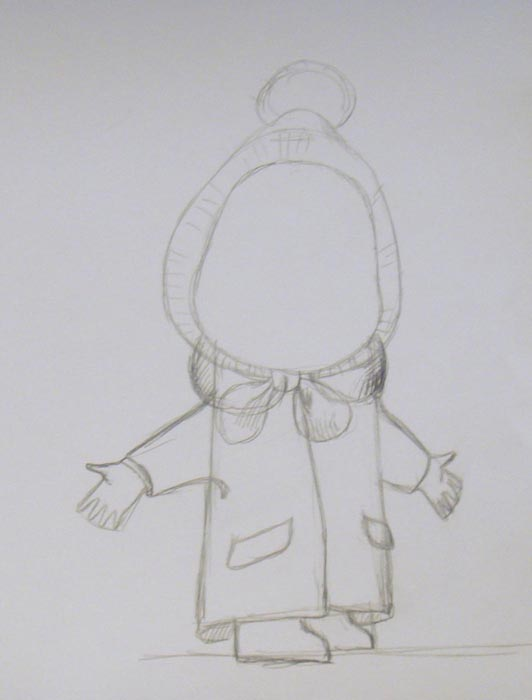 Нарисуйте воротник, а вокруг головы изобразите шапочку с помпоном