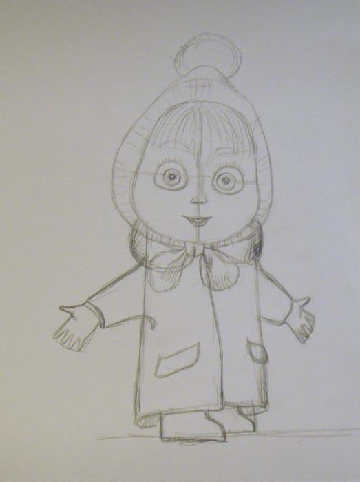 На лице Маши нарисуйте глаза. Изобразите небольшой нос, а также слегка приоткрытый рот. Легкими линиями набросайте челку, прикрывающую лоб и брови