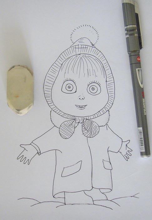Обрисуйте ручкой набросок, а затем сотрите все карандашные линии