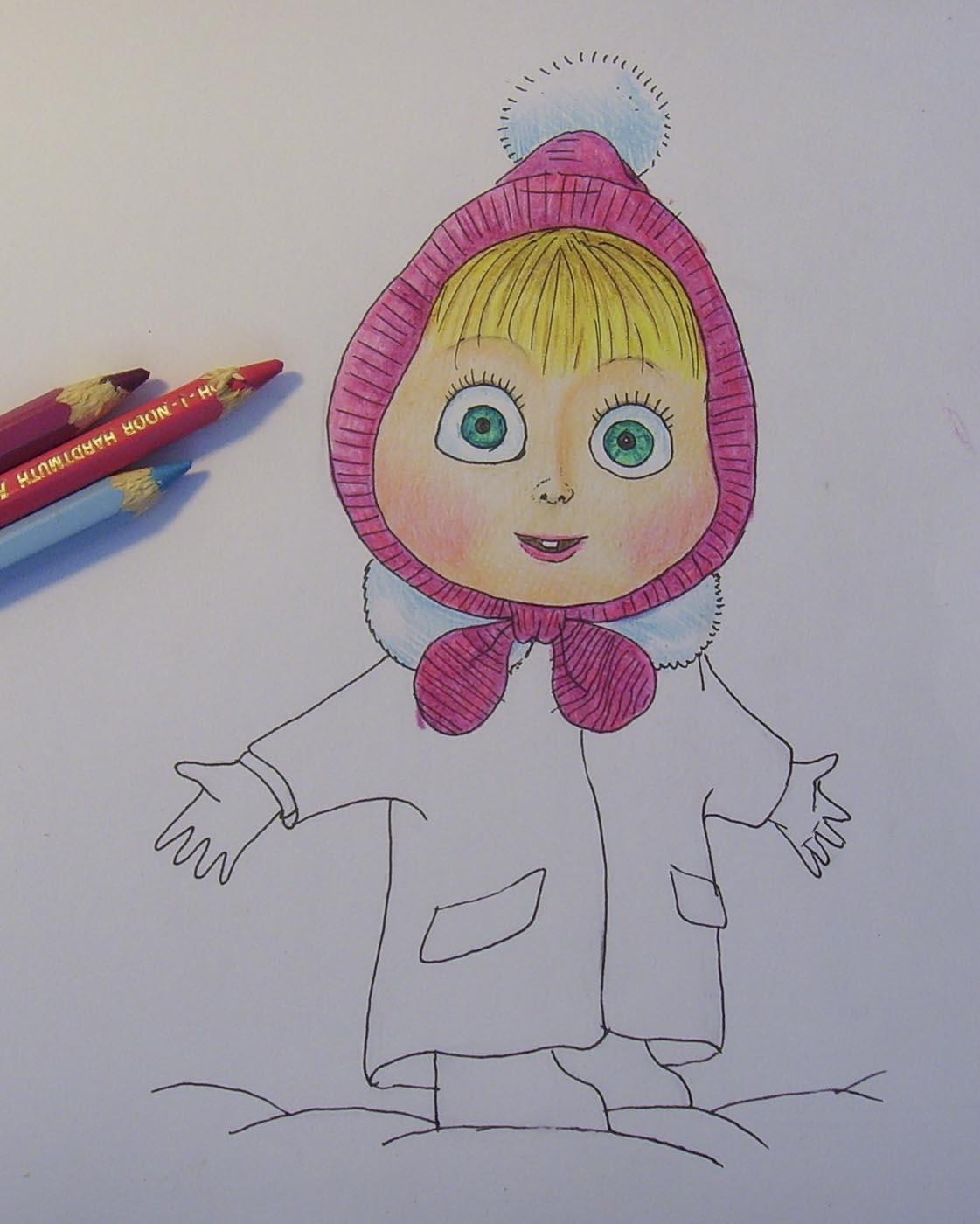 рисунок маши и медведь карандашом