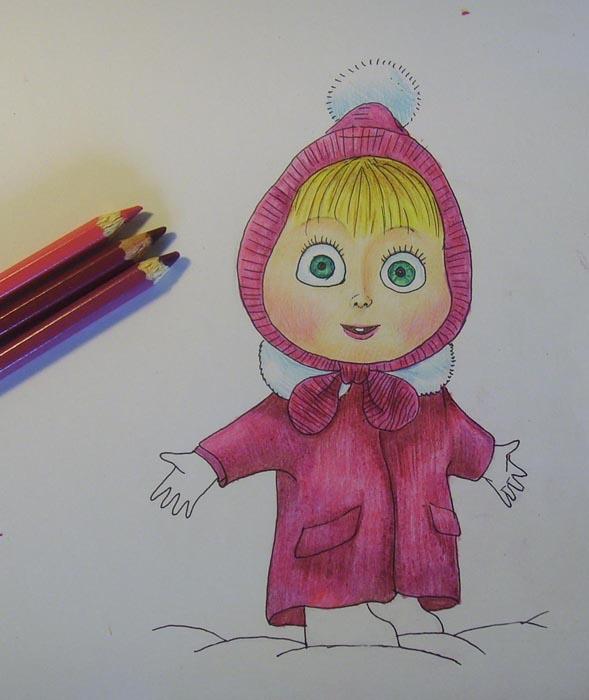 Розовыми карандашами раскрасьте пальто
