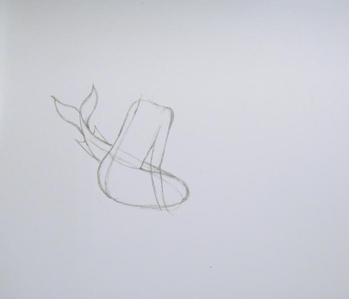 Пририсуйте русалке плечо и руку, а также изобразите очертания её тела