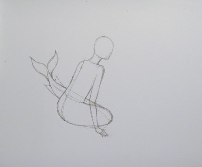 Более детально нарисуйте кисть руки, а затем пририсуйте русалке шею и голову