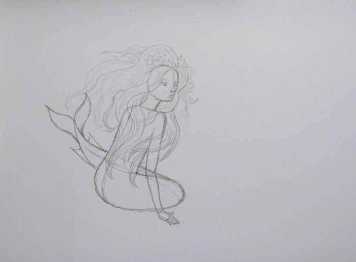 Нарисуйте русалочке глаза, нос и рот, а также изобразите пышные волосы