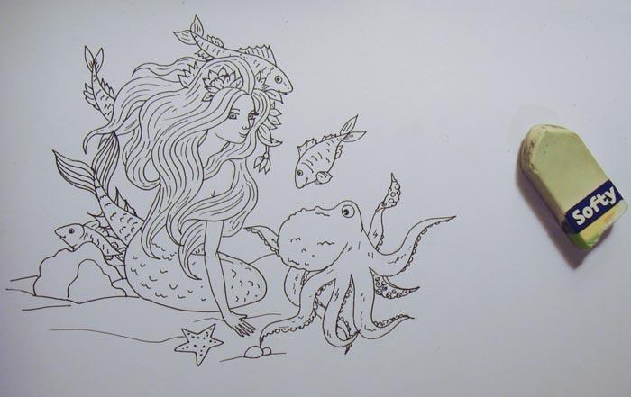 Сотрите предварительный карандашный рисунок ластиком