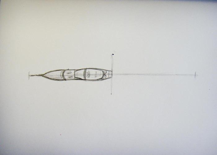 Нарисуйте горизонтальную линию и разделите её на 2 части. Изобразите переднюю часть истребителя
