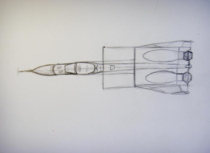 Продолжайте рисовать заднюю часть истребителя, стараясь соблюдать симметрию
