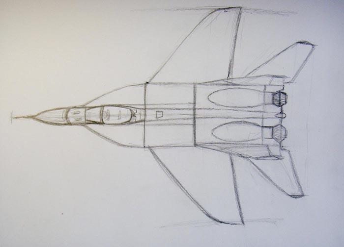 Прорисуйте переднюю часть истребителя, а сзади добавьте небольшие крылья