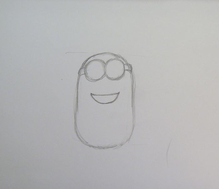 В верхней части овала нарисуйте очки и рот
