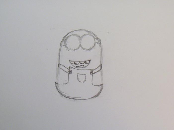 Нарисуйте зубы и комбинезон