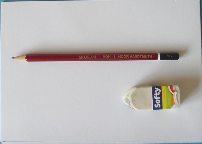 Приготовьте бумагу, простой карандаш и ластик